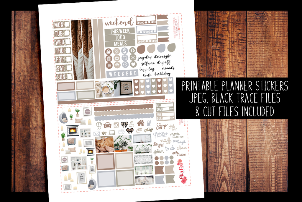 Stay Home Photo Hobonichi Weeks Kit | PRINTABLE PLANNER STICKERS