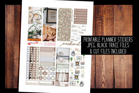 Stay Home Photo Mini Planner Kit | PRINTABLE PLANNER STICKERS