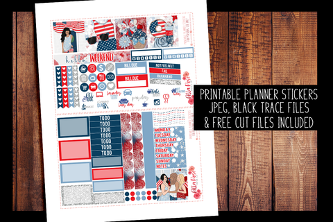 4th Of July Mini Happy Planner Kit | PRINTABLE PLANNER STICKERS
