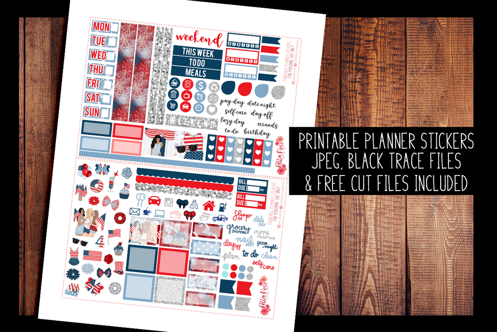 4th Of July Hobonichi Weeks Kit | PRINTABLE PLANNER STICKERS