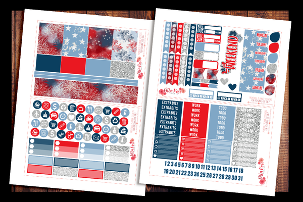 4th Of July Planner Kit | PRINTABLE PLANNER STICKERS