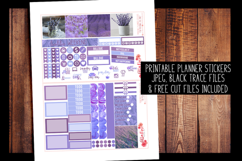 Lavender Photo Mini Happy Planner Kit | PRINTABLE PLANNER STICKERS