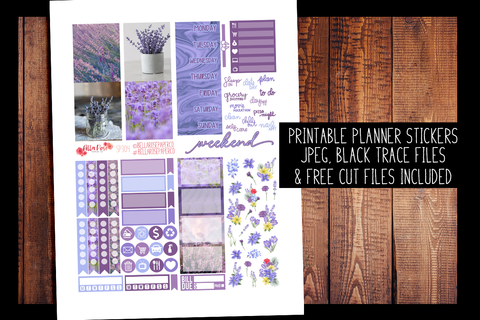 Lavender Photo Mini Planner Kit | PRINTABLE PLANNER STICKERS