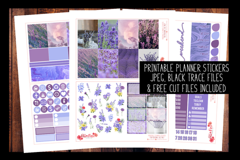 Lavender Photo Happy Planner Kit | PRINTABLE PLANNER STICKERS