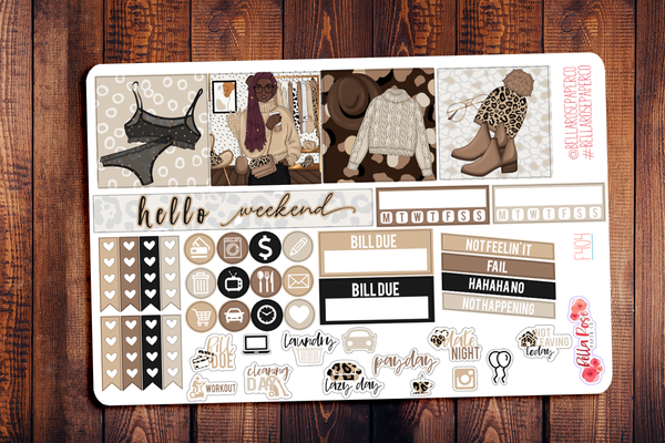 Leopard Love Mini Happy Planner Sticker Kit F404