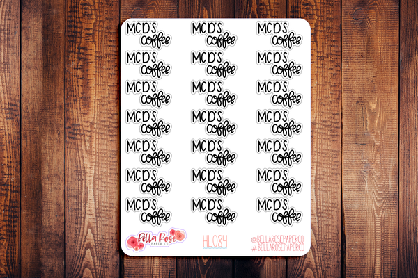 McDonald' Coffee Hand Lettering Planner Stickers HL084