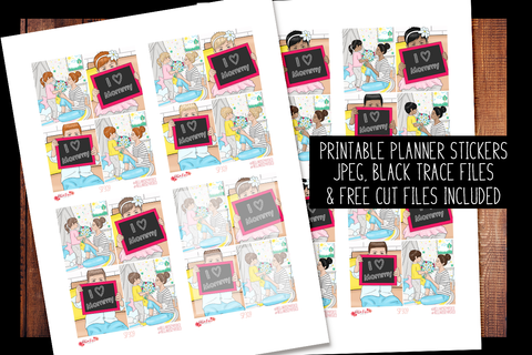 Mom Life Family Full Boxes | PRINTABLE PLANNER STICKERS
