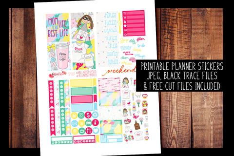 Mom Life Mini Planner Kit | PRINTABLE PLANNER STICKERS