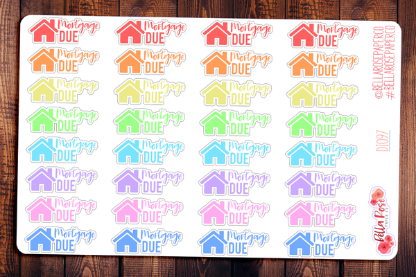 Mortgage Due Planner Stickers DI097