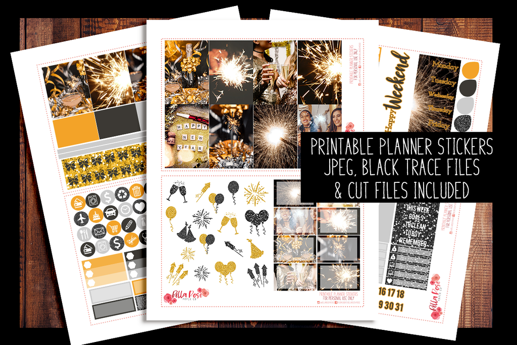 New Years Eve Photo Happy Planner Kit | PRINTABLE PLANNER STICKERS