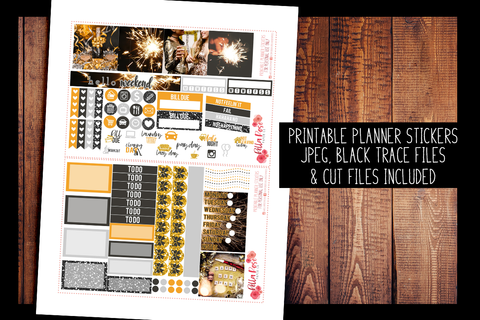 New Years Eve Photo Mini Happy Planner Kit | PRINTABLE PLANNER STICKERS
