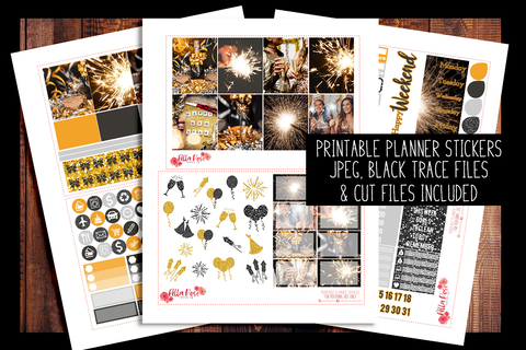 New Years Eve Photo Planner Kit | PRINTABLE PLANNER STICKERS