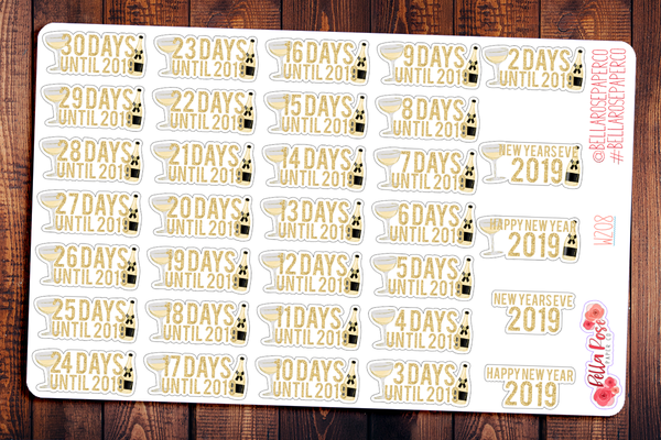 New Years Day Countdown Planner Stickers W208