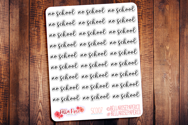No School Script Planner Stickers SC007