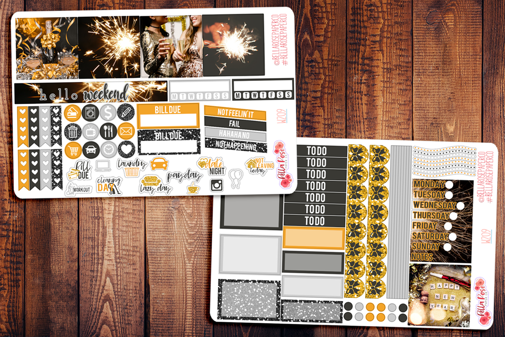 New Years Eve Photo Mini Happy Planner Sticker Kit W209