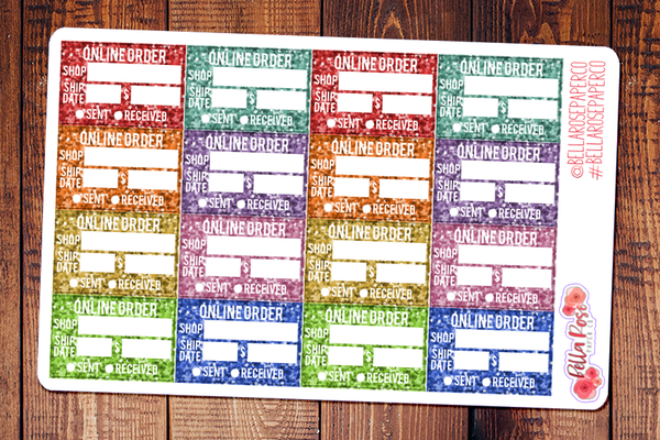 Glitter Online Order Tracking Planner Stickers