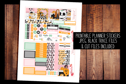 Halloween Sweets Mini Happy Planner Kit | PRINTABLE PLANNER STICKERS