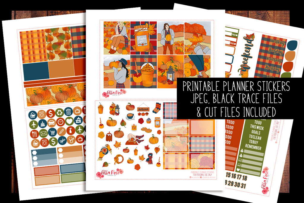 Pumpkin Picking Planner Kit | PRINTABLE PLANNER STICKERS