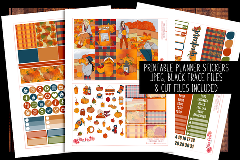 Pumpkin Picking Happy Planner Kit | PRINTABLE PLANNER STICKERS