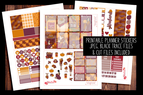 Pumpkin Spice Happy Planner Kit | PRINTABLE PLANNER STICKERS