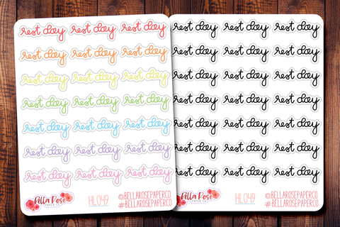 Rest Day Lettering Planner Stickers HL049