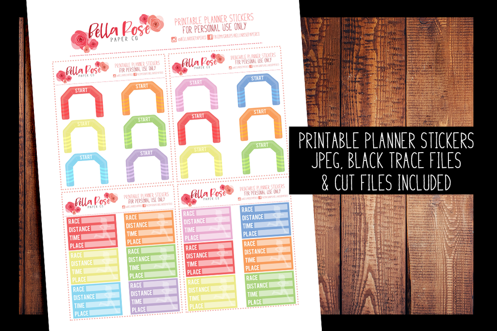 Runner/Race Planner Stickers | PRINTABLE PLANNER STICKERS