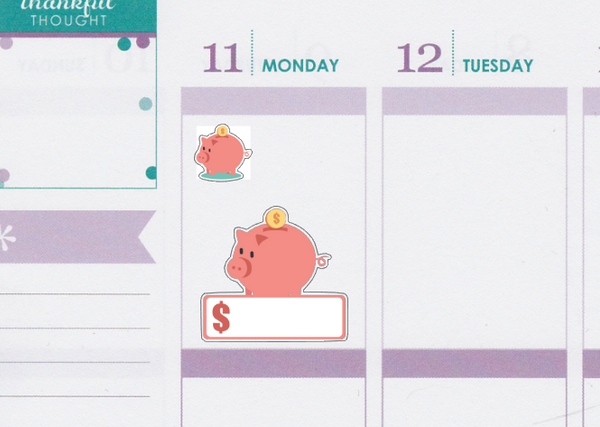 Savings Tracker/Piggy Banks Planner Stickers