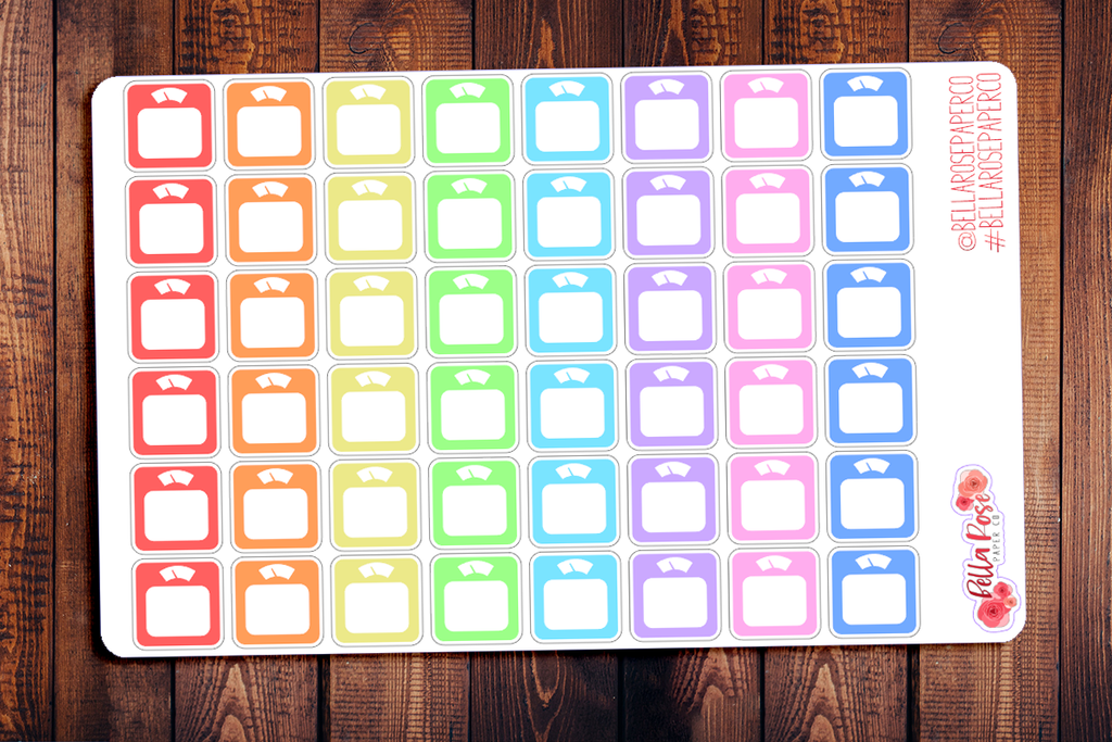 Rainbow Scale/Weight Loss Planner Stickers B022