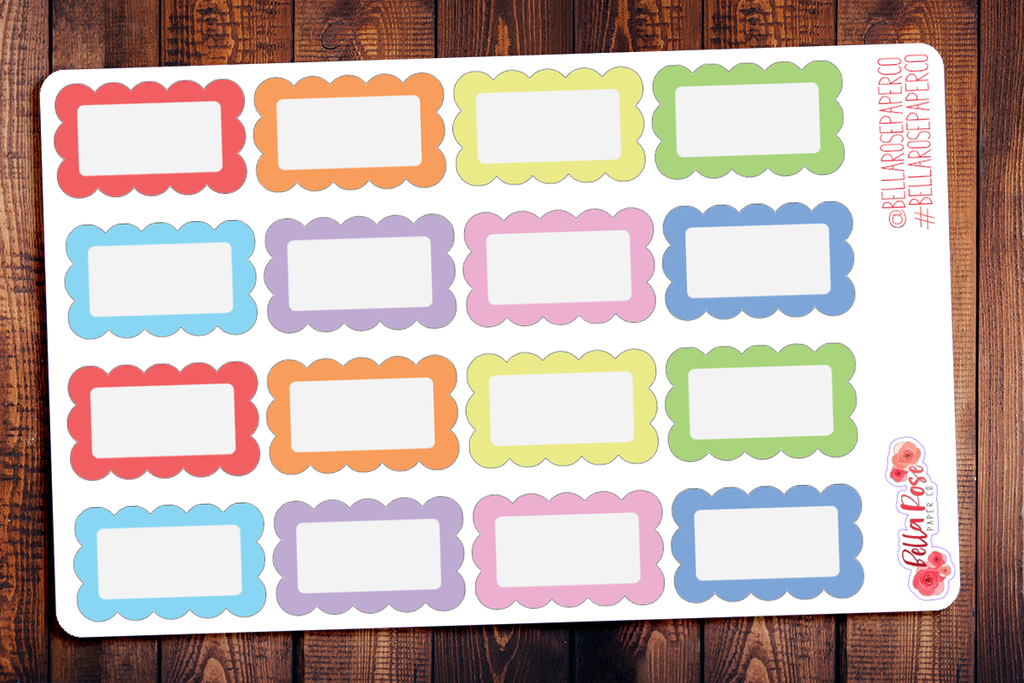 Scalloped Halfbox Planner Stickers