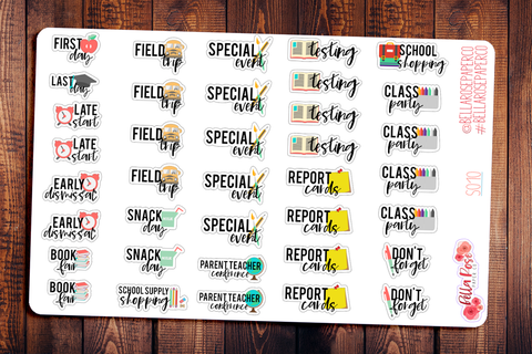 School Events Student Planner Stickers S010