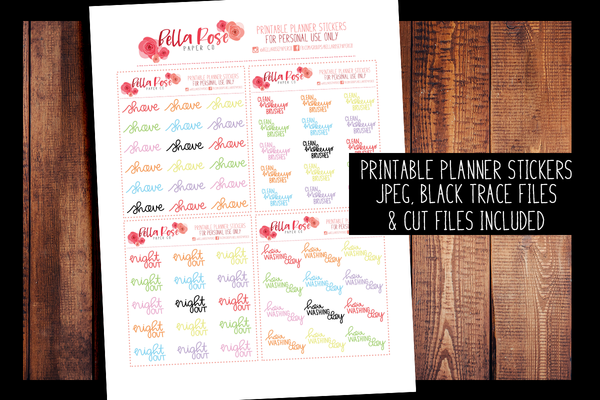 Self Care Hand Lettered Planner Stickers | PRINTABLE PLANNER STICKERS