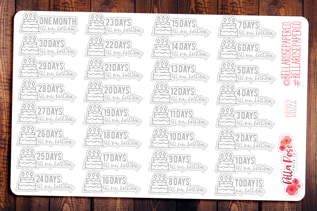 Silver Birthday Countdown Planner Stickers DI092