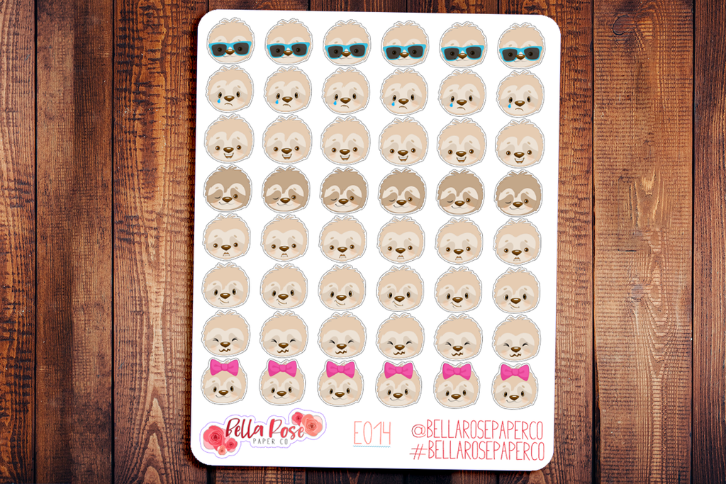 Sloth Emoti Character Planner Stickers E015