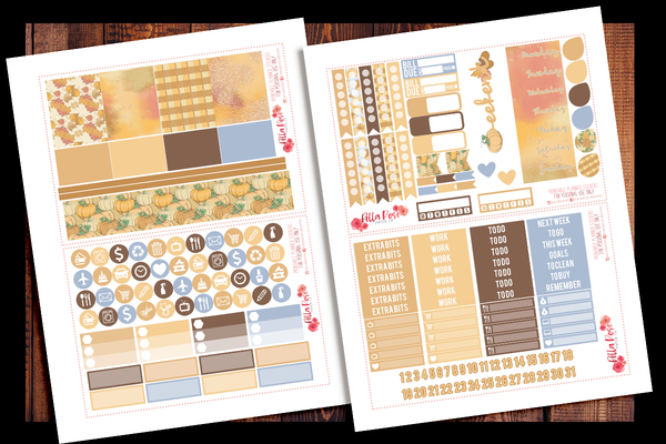 Pumpkin Spice Season Planner Kit | PRINTABLE PLANNER STICKERS
