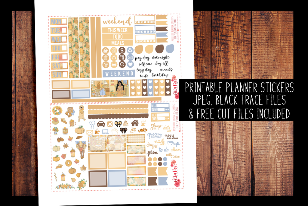Pumpkin Spice Season Hobonichi Weeks Kit | PRINTABLE PLANNER STICKERS