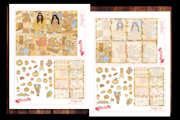 Pumpkin Spice Season Happy Planner Kit | PRINTABLE PLANNER STICKERS