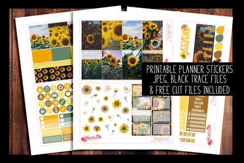 Sunflower Photo Happy Planner Kit | PRINTABLE PLANNER STICKERS