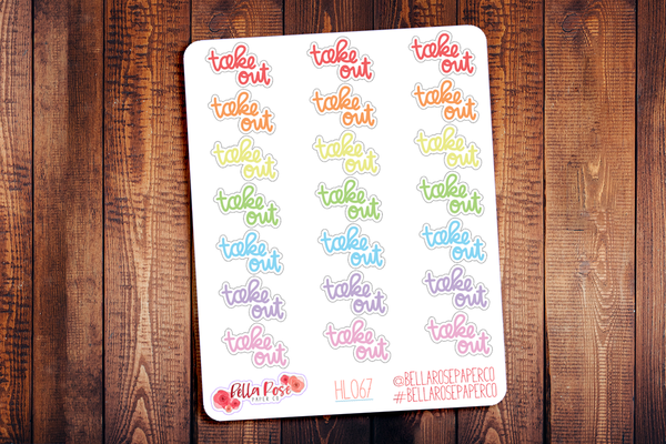 Take Out Lettering Planner Stickers HL067