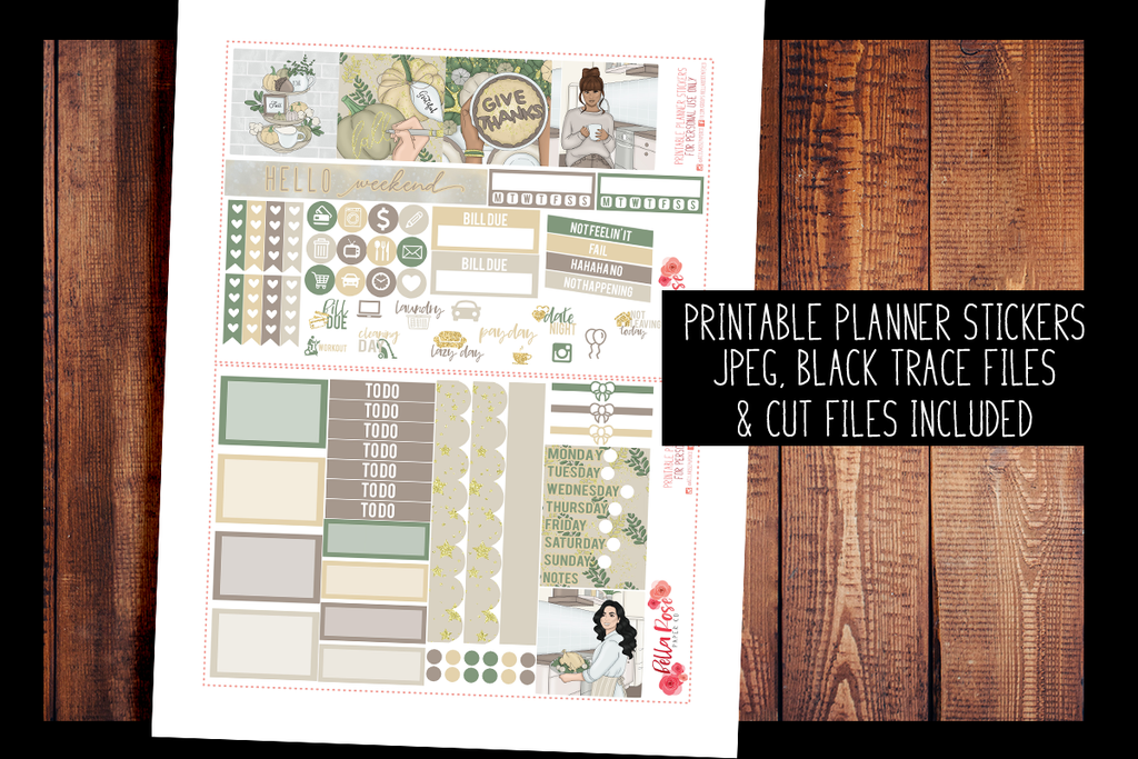 Thanksgiving Mini Happy Planner Kit | PRINTABLE PLANNER STICKERS