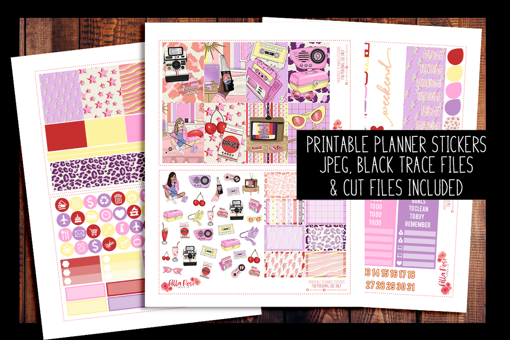 Throwback Happy Planner Kit | PRINTABLE PLANNER STICKERS