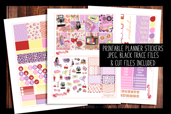 Throwback Planner Kit | PRINTABLE PLANNER STICKERS