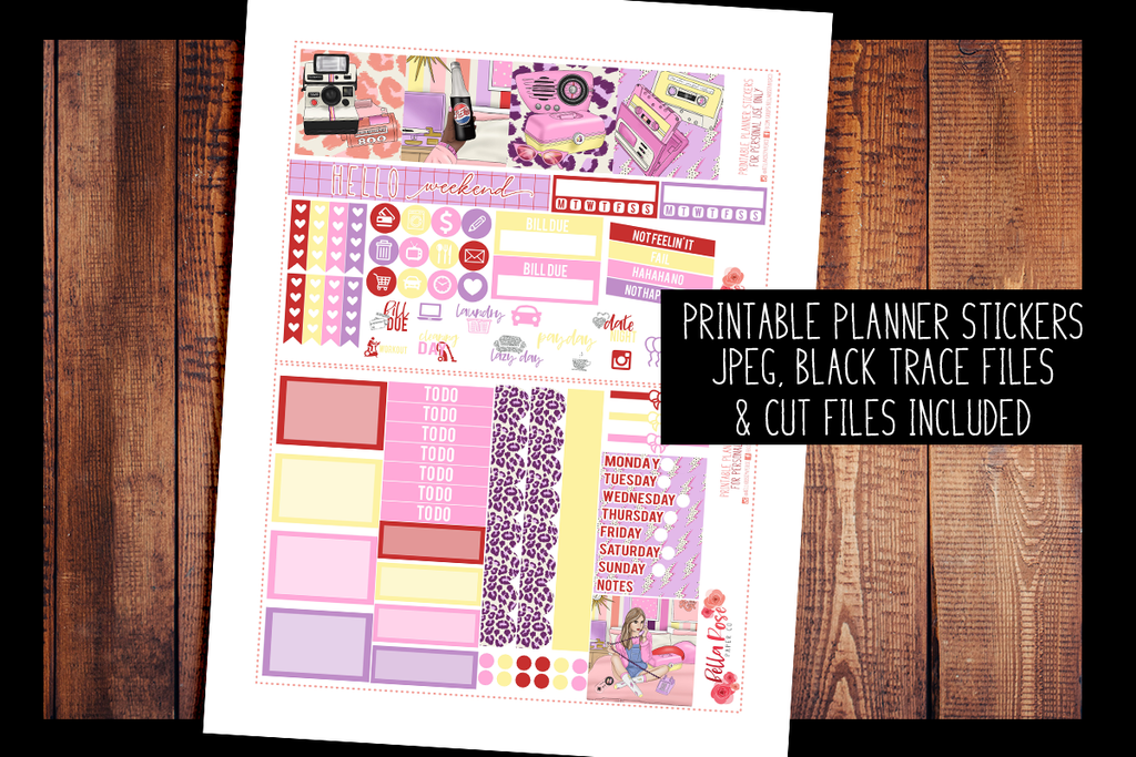 Throwback Mini Happy Planner Kit | PRINTABLE PLANNER STICKERS