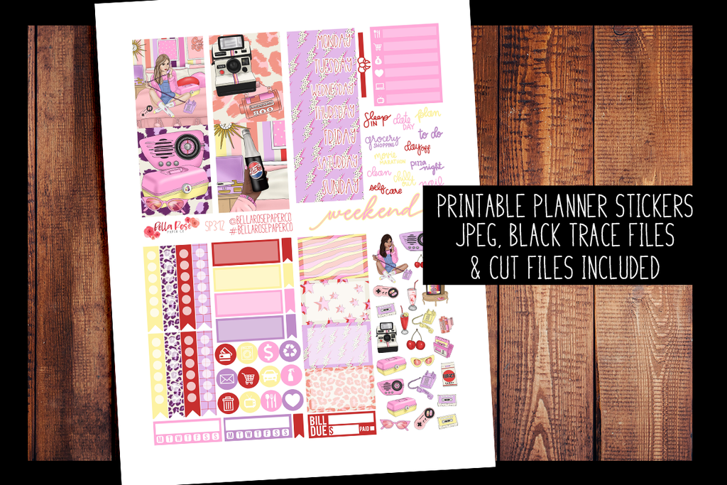 Throwback Mini Planner Kit | PRINTABLE PLANNER STICKERS