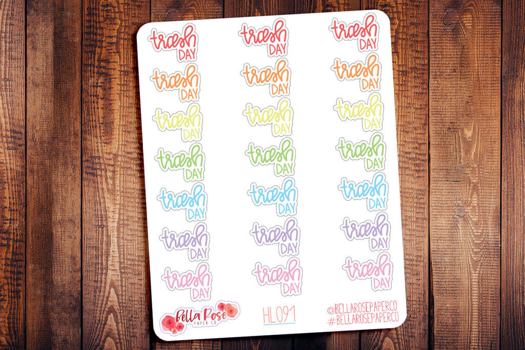Trash Day Hand Lettering Planner Stickers HL091