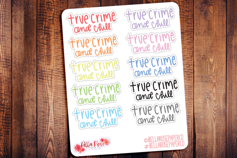 True Crime & Chill Doodle Hand Drawn Planner Stickers
