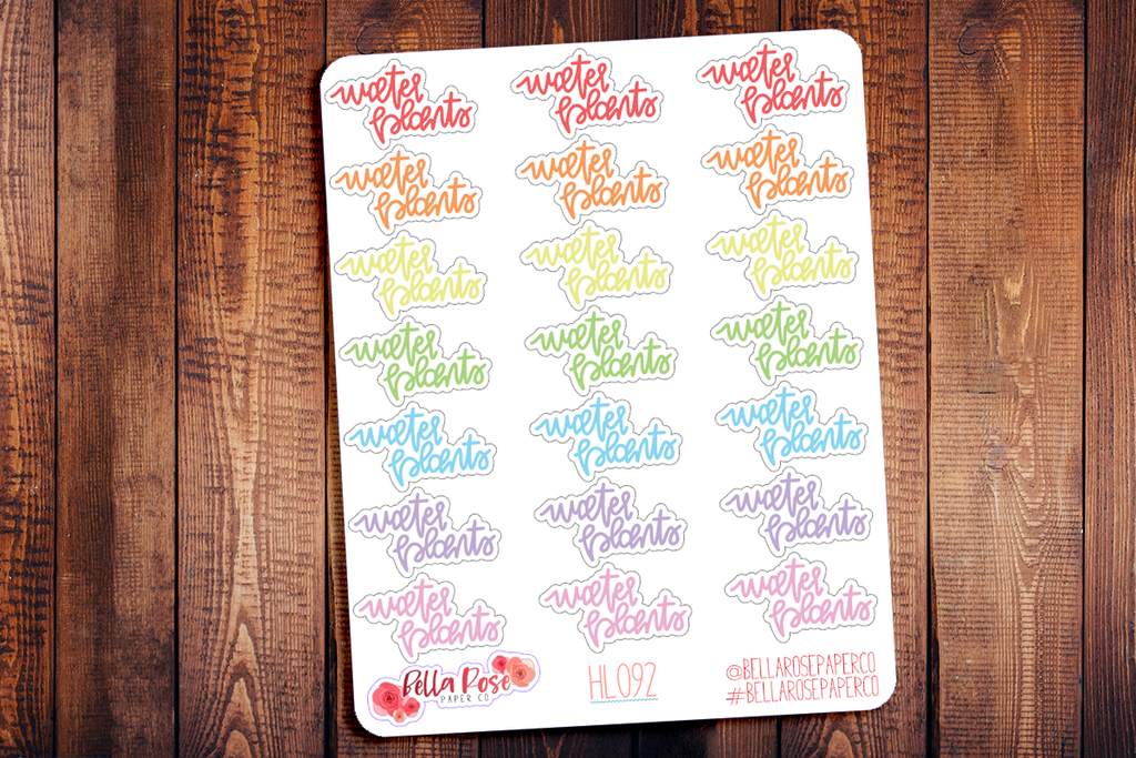 Water Plants Hand Lettering Planner Stickers HL092
