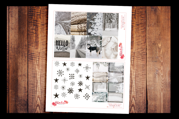 Winter Photo Happy Planner Kit | PRINTABLE PLANNER STICKERS