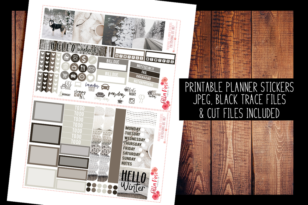 Winter Photo Mini Happy Planner Kit | PRINTABLE PLANNER STICKERS