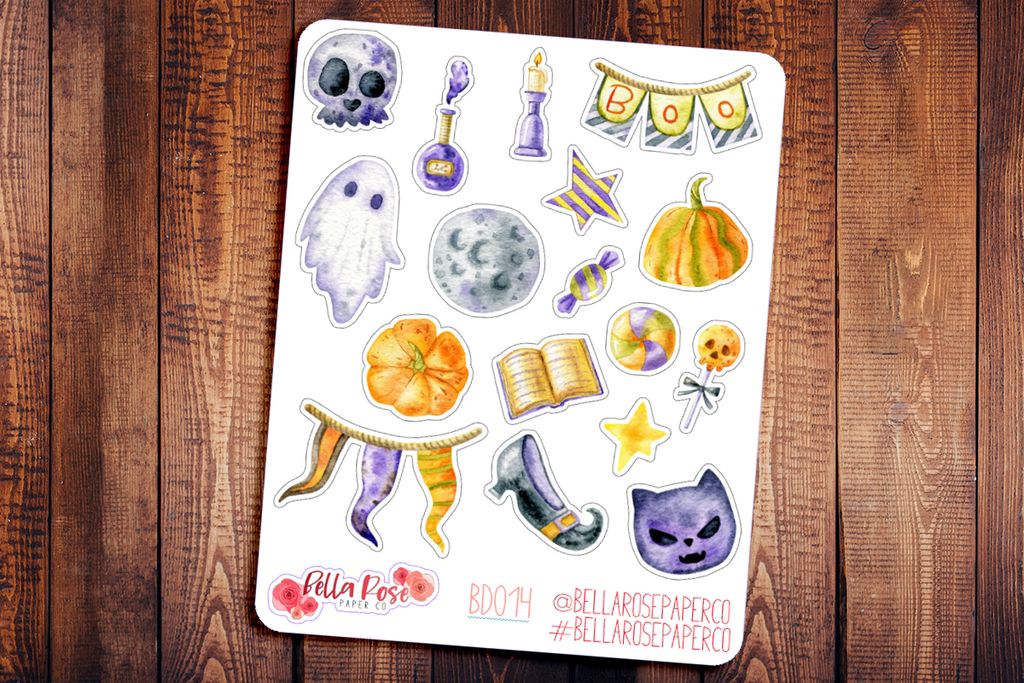 Witchy Halloween Deco Planner Stickers BD014
