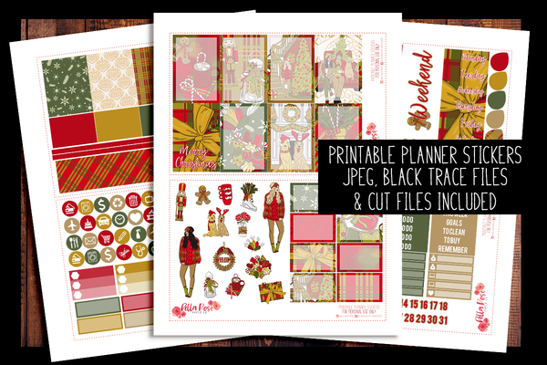 Merry Christmas Happy Planner Kit | PRINTABLE PLANNER STICKERS